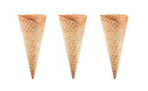 Medium-Wide Vanilla Waffle Cone   198 per case  ( Item# 8950)